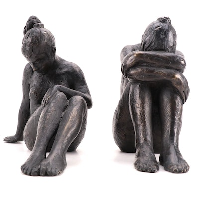 """Martin Duque Bronze Sculptures """"Act of Cluster Woman"""" and """"Act of Naked Woman"""""""