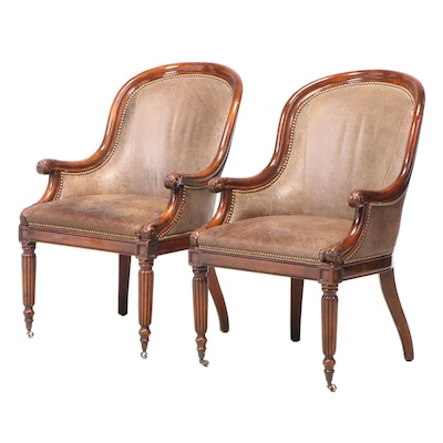 Pair of Hickory White Regency Style Mahogany and Brown Leather Tub Chairs