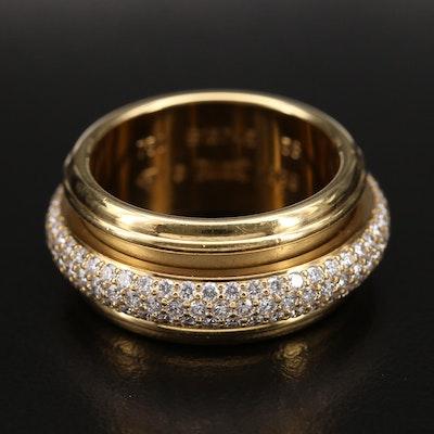 """1999 Piaget """"Possession"""" 18K Pavé 2.10 CTW Diamond Spinner Ring"""
