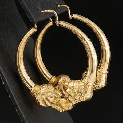 18K Double Lion Hoop Earrings