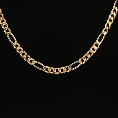 14K Two Tone Figaro Chain Necklace