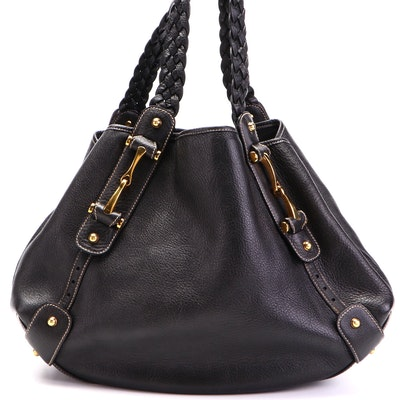 Gucci Pelham Medium Shoulder Bag in Black Grained Leather with Braided Strap