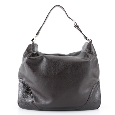 Gucci Charlotte Hobo Bag in Dark Brown Guccissima and Grained Leather