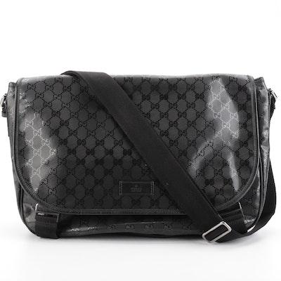 Gucci Imprime Black GG Canvas and Leather Trim Messenger Bag
