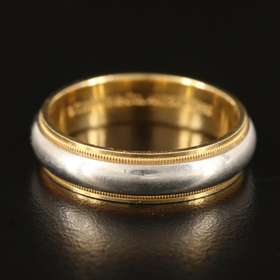 """Tiffany & Co. """"Tiffany Classic"""" 18K and Platinum Band with Milgrain Detail"""