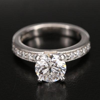 Novell Palladium and Platinum 1.84 CTW Diamond Ring with IGI Digital Report
