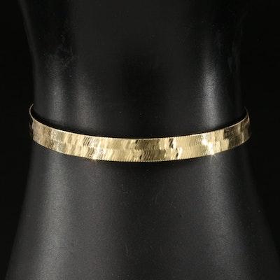 10K Italian Herringbone Chain Bracelet
