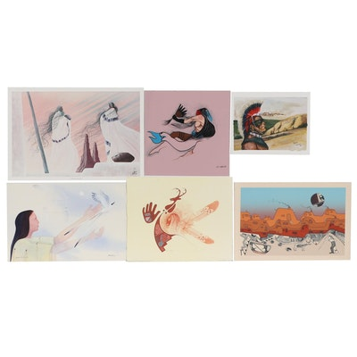 Will Redbird and Jackie Tointigh Paintings and Other Native American Prints