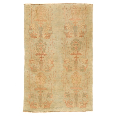 4'6 x 7'1 Hand-Knotted Turkish Donegal Style Oushak Area Rug