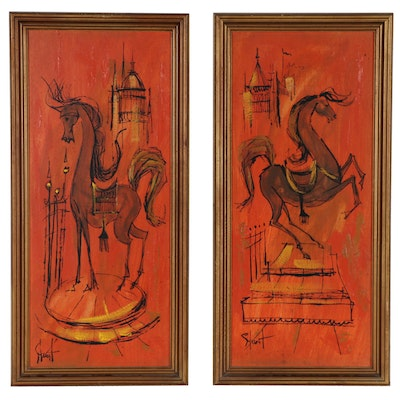 Modernist Style Equine Themed Oil Paintings