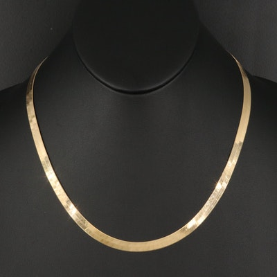 14K Italian Herringbone Chain Necklace