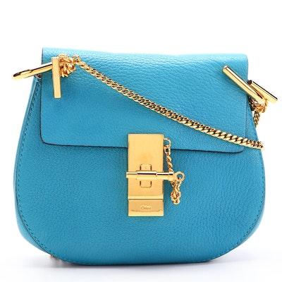 Chloé Drew Mini Crossbody Bag in Blue Grained Leather