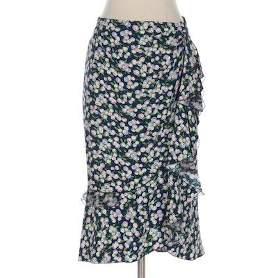 Louis Vuitton Floral Printed Silk Ruffled Skirt