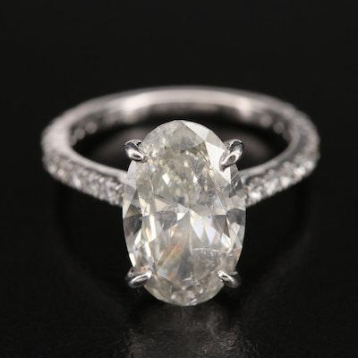 Platinum 4.06 CTW Diamond Oval Ring