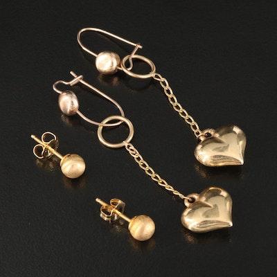 14K Stud and Puffed Heart Drop Earrings