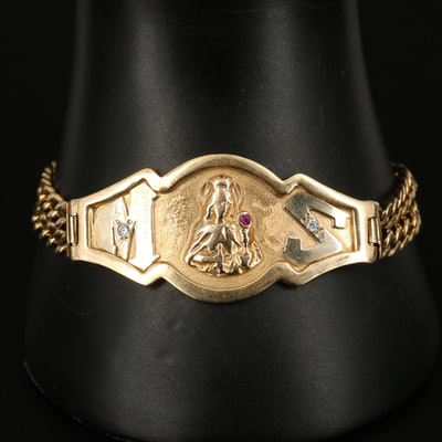 14K Madonna Figure Bracelet with Ruby and Cubic Zirconia Accents