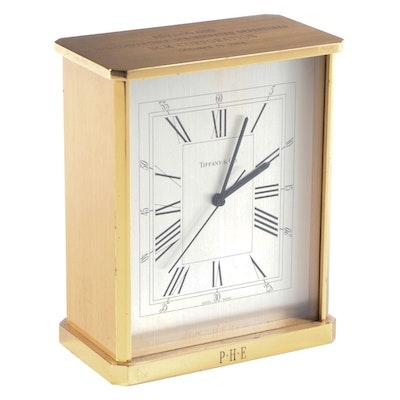 Tiffany & Co. Swiss Movement Brass Desk Clock, Late 20th Century