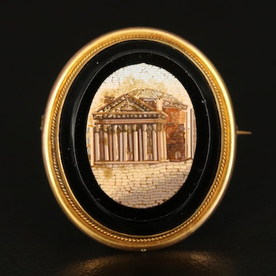 Antique Micromosaic Brooch Depicting the Roman Pantheon