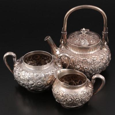 Gorham Sterling Silver Repoussé Tea Set, Early 20th Century