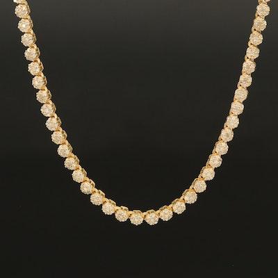 Sterling 3.00 CTW Diamond  Rivière Necklace