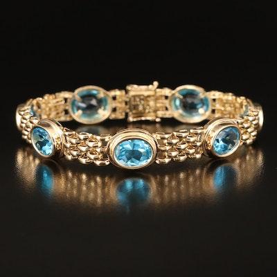 14K Swiss Blue Topaz Panther Bracelet