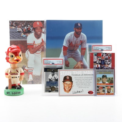 St. Louis Cardinals Jack Buck and Stan Musial Signed Cards, Bobblehead, Photos