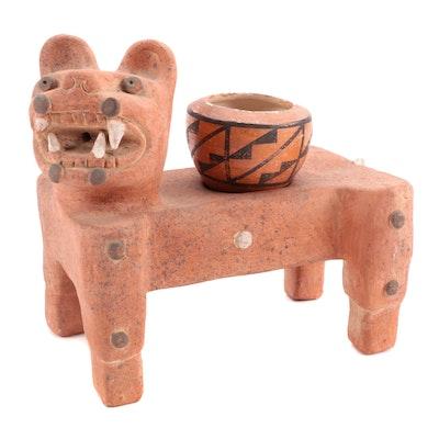Acoma Pueblo Terracotta Jaguar Planter