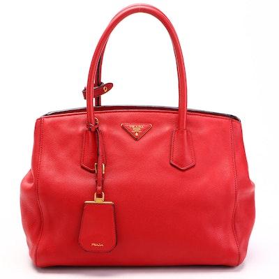 Prada Convertible Satchel in Red Vitello Daino Leather