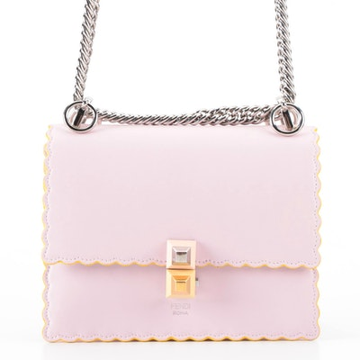 Fendi Mini Kan I Shoulder Bag in Powdered Pink Leather with Chain Strap