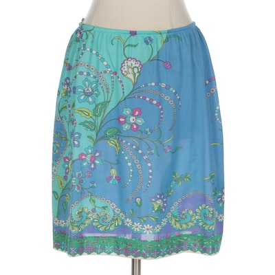 Emilio Pucci for Formfit Rogers Multicolor Blue Printed Stretch Nylon Skirt