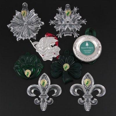 Waterford Crystal and Sterling with Other Silver Plate Christmas Ornaments