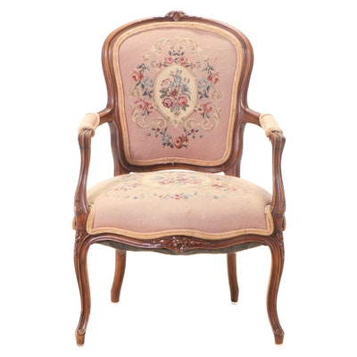 Louis XV Style Carved Hardwood and Needlepoint Fauteuil, 20th Century