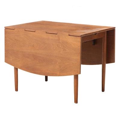 "Drexel ""Parallel"" Mid Century Modern Walnut Extending Drop-Leaf Dining Table"