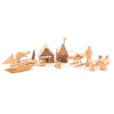 Handcrafted Plywood Bird, Beaver, Plane and House Figurines with Others