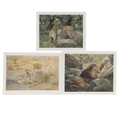 Simon Combes Offset Lithographs of African Cats