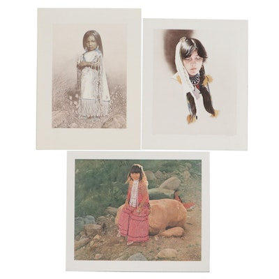 Don Crowley Lithographs and Offset Lithograph of Native American Women