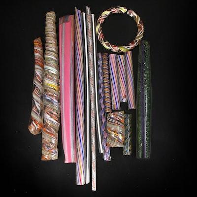 Hand-Pulled Art Glass Zanfirico, Ballotini and Ribbon Canes