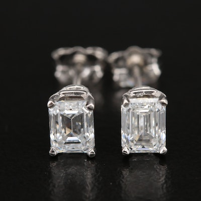Platinum 1.44 CTW Diamond Stud Earrings with GIA Dossiers