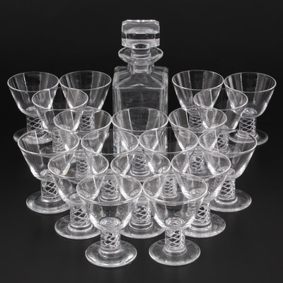 Steuben Art Glass Swirl Stem Liquor Cocktail Glasses and Other Glass Decanter