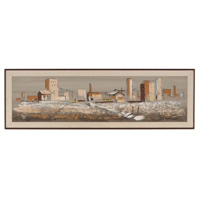 Large-Scale Landscape Oil Painting, Circa 1960