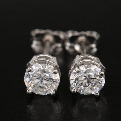 Platinum 1.14 CTW Diamond Stud Earrings with GIA Dossier and eReport