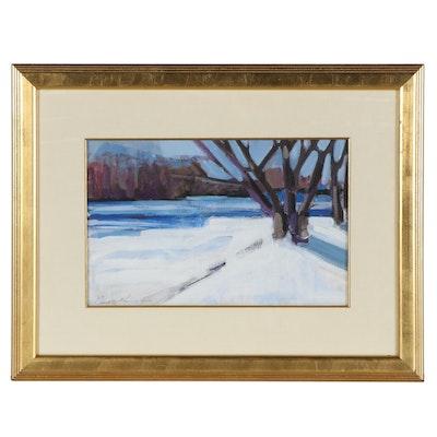 Claudette Graumlich Winter Landscape Oil Painting, Late 20th Century