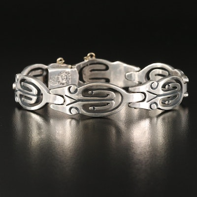 Vintage Taxco Mexican Sterling Silver Panel Bracelet