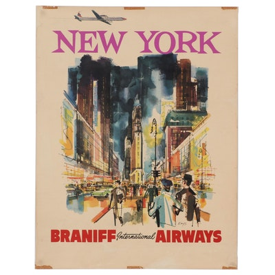 "Braniff International Airways ""New York"" Offset Lithograph Travel Poster"