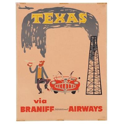 "Braniff International Airways Lithograph Travel Poster ""Texas"""