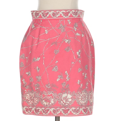Emilio Pucci Pink-White Floral Printed Skirt in Cotton Twill