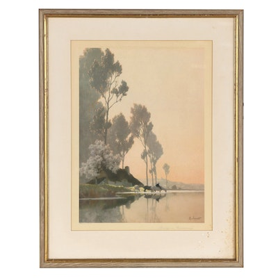 """Offset Lithograph After Alexandre Jacob """"Spring in Normandy"""""""