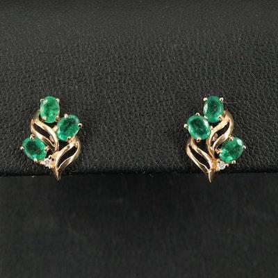 14K Foliate Emerald Earrings with Diamond Accents