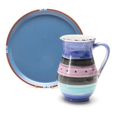 "Dansk ""Mesa Sky Blue"" Ceramic Chop Plate with Italian Tin Glazed Ceramic Pitcher"