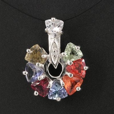 Sterling Silver Tourmaline, Sapphire and Garnet Pendant